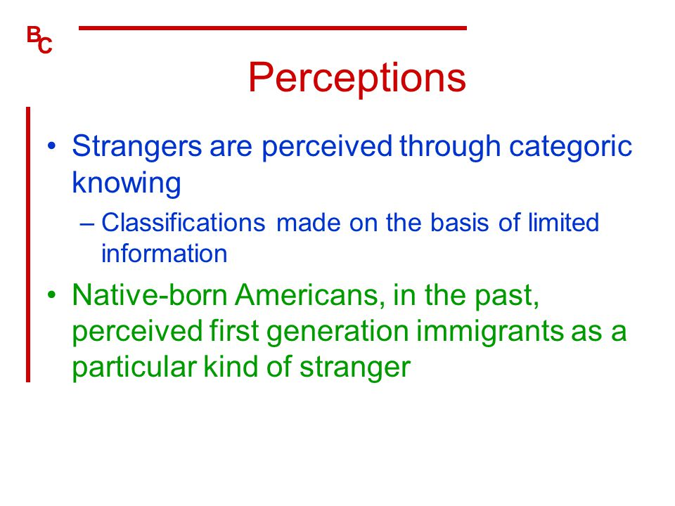 Perceptions Strangers are perceived through categoric knowing