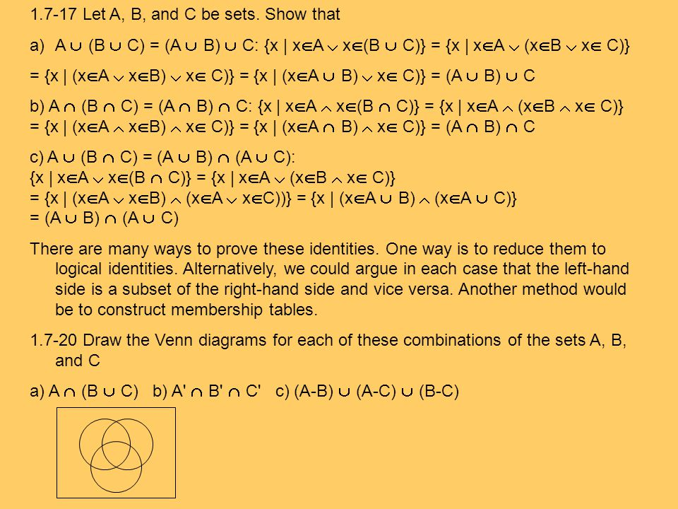1.7-17 Let A, B, and C be sets. Show that