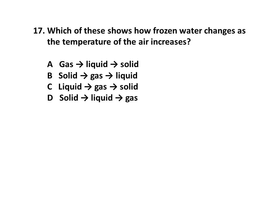 Which of these shows how frozen water changes as the temperature of the air increases