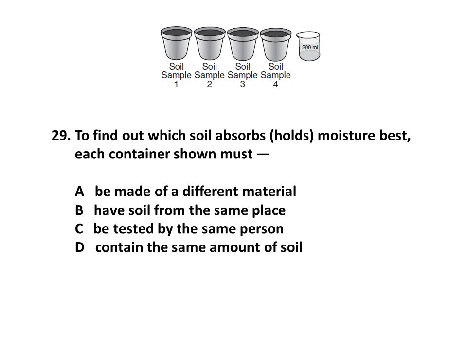 To find out which soil absorbs (holds) moisture best, each container shown must —