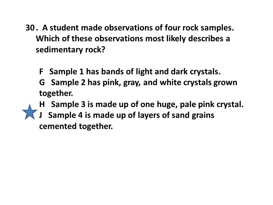 A student made observations of four rock samples
