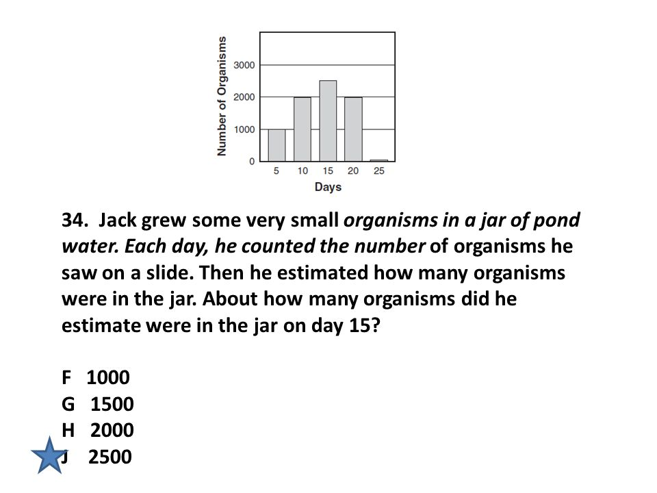 34. Jack grew some very small organisms in a jar of pond water