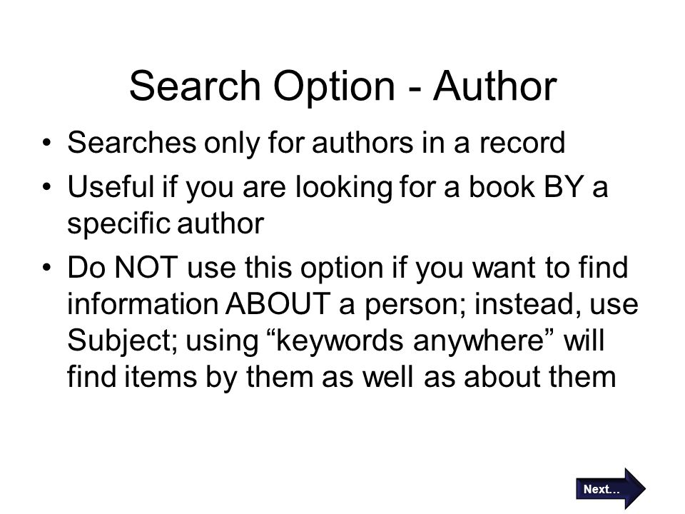 Search Option - Author Searches only for authors in a record