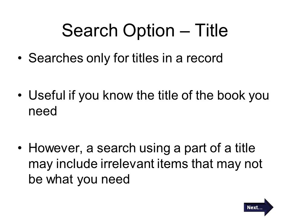 Search Option – Title Searches only for titles in a record
