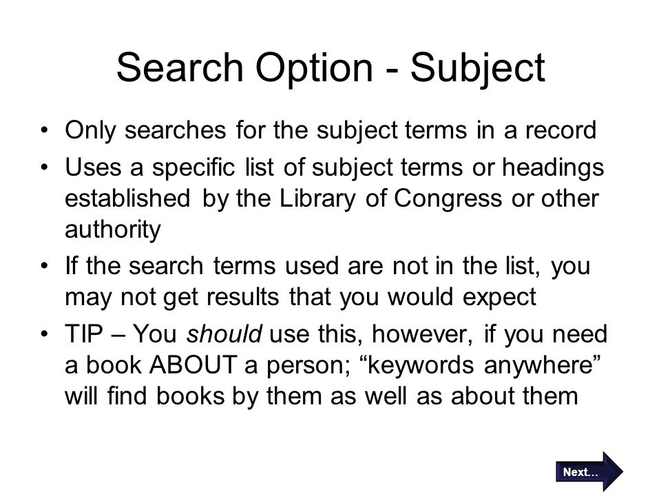 Search Option - Subject