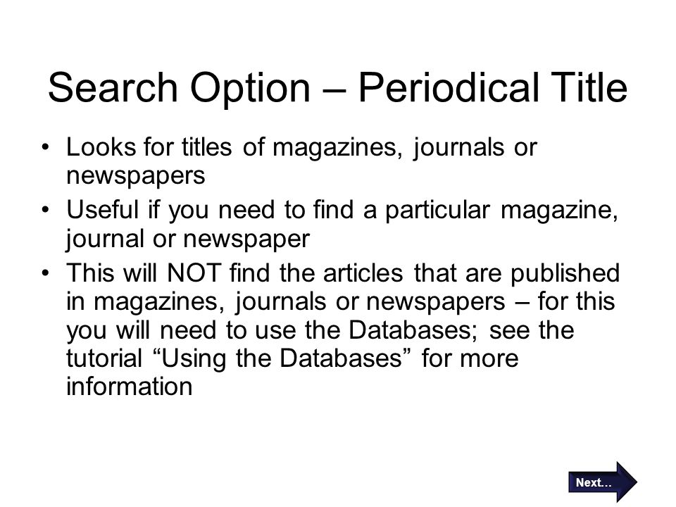 Search Option – Periodical Title