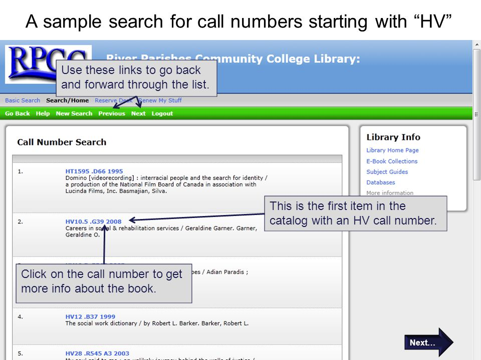 A sample search for call numbers starting with HV