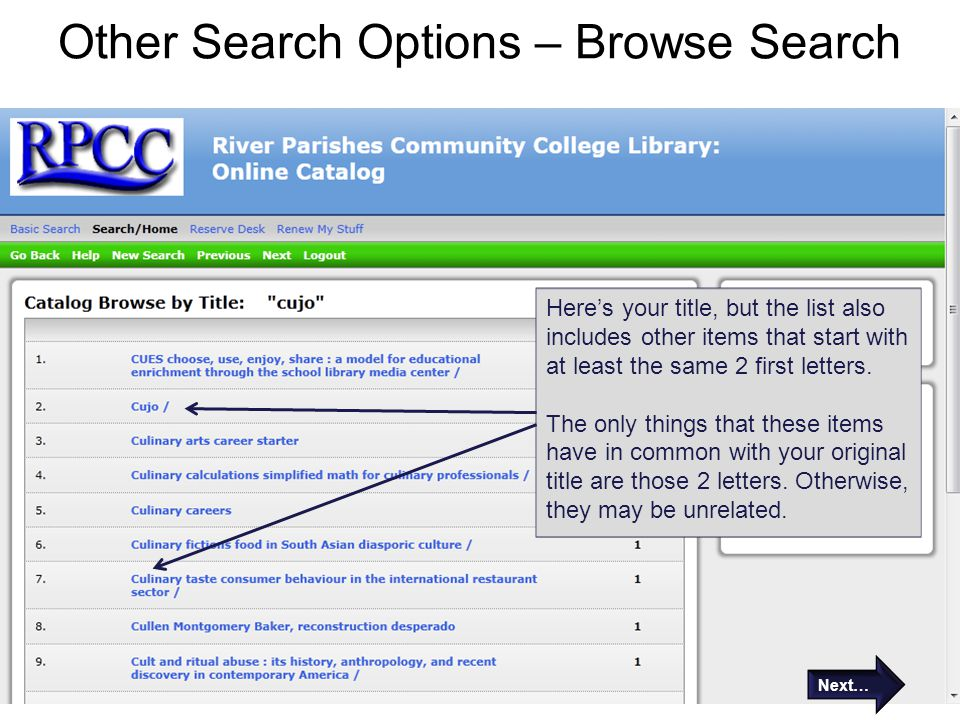 Other Search Options – Browse Search
