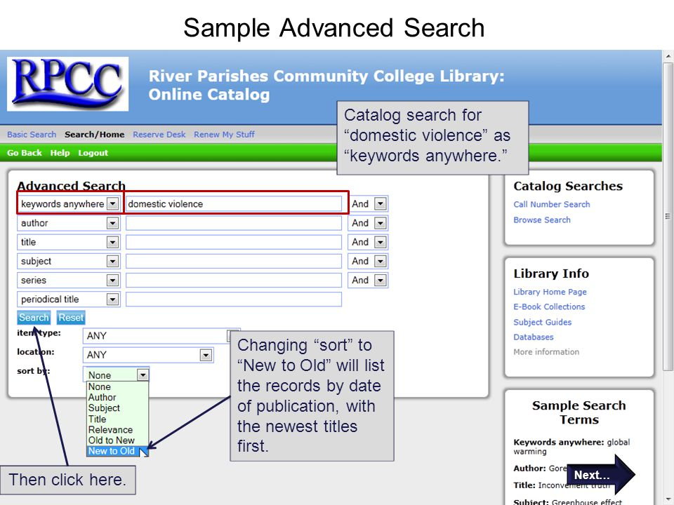 Sample Advanced Search