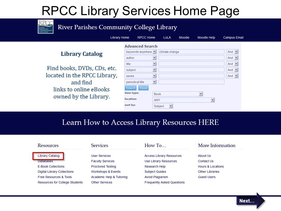 RPCC Library Services Home Page