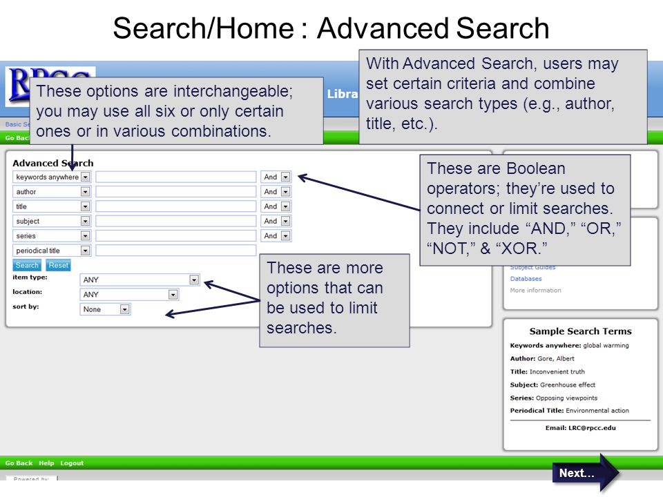 Search/Home : Advanced Search