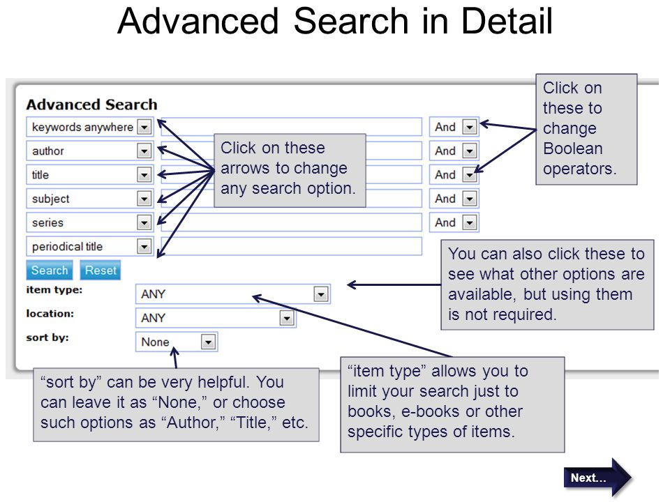 Advanced Search in Detail