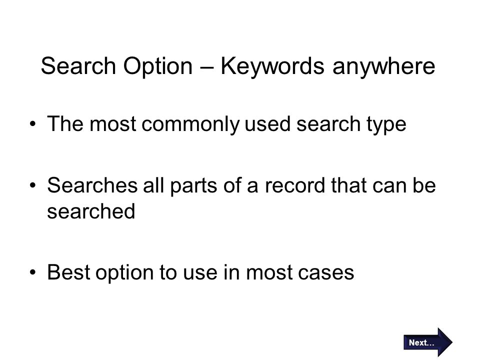 Search Option – Keywords anywhere