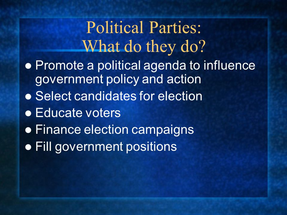 Political Parties: What do they do