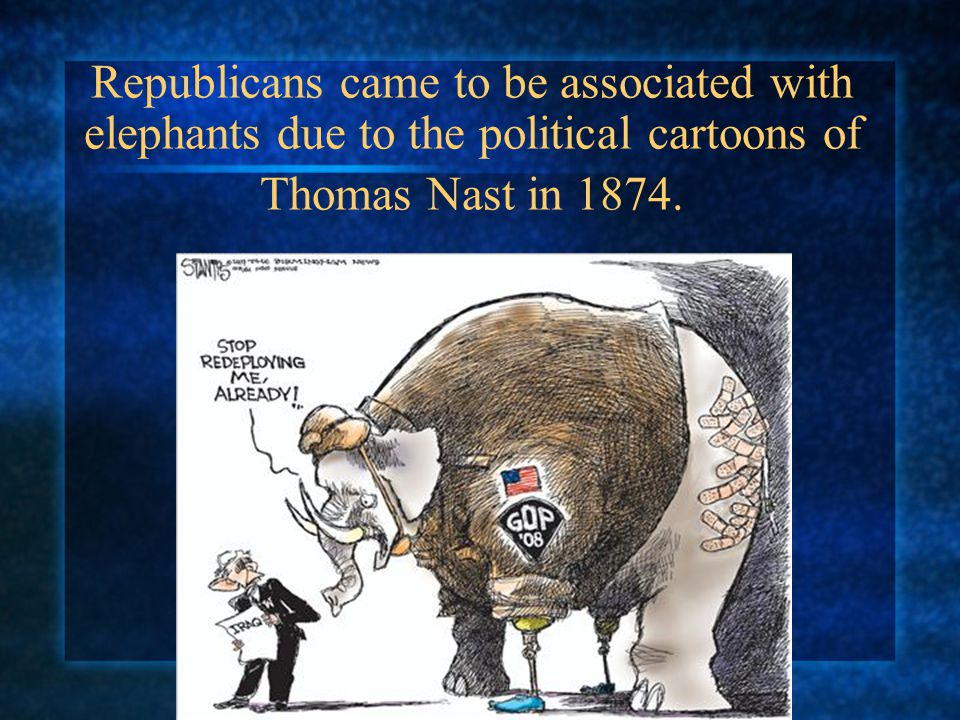 Republicans came to be associated with elephants due to the political cartoons of Thomas Nast in 1874.