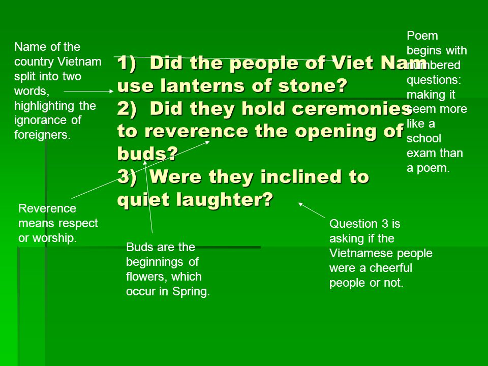 1) Did the people of Viet Nam use lanterns of stone