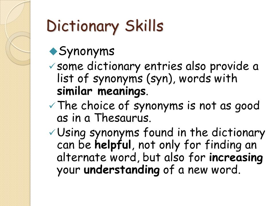 Dictionary Skills Synonyms