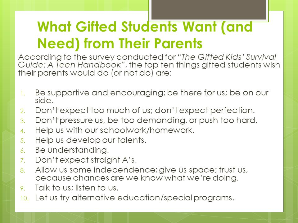 What Gifted Students Want (and Need) from Their Parents