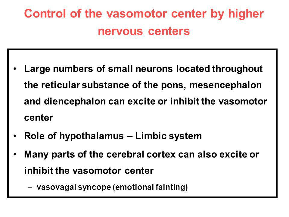 Control of the vasomotor center by higher nervous centers