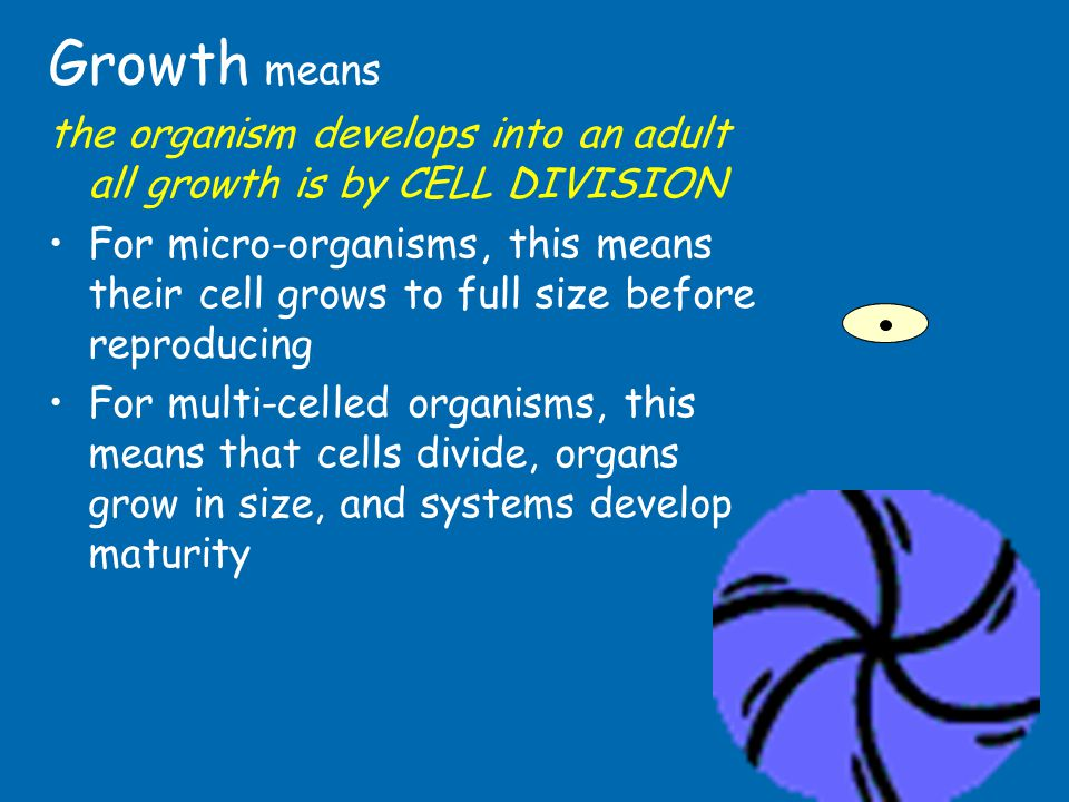 Growth means the organism develops into an adult all growth is by CELL DIVISION.
