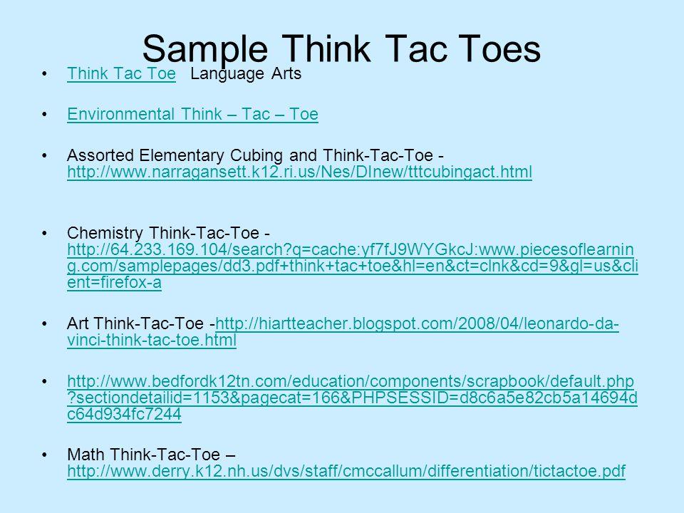 Sample Think Tac Toes Think Tac Toe Language Arts