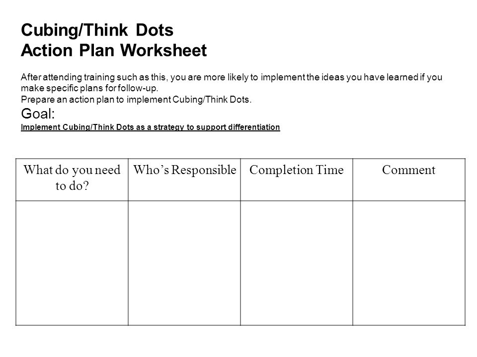 Cubing/Think Dots Action Plan Worksheet Goal: What do you need to do