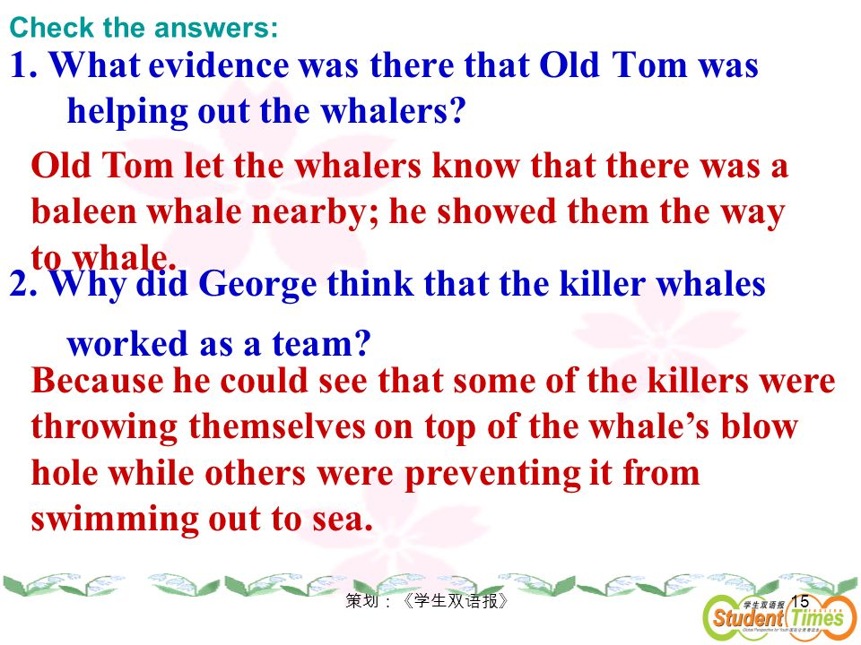 1. What evidence was there that Old Tom was helping out the whalers