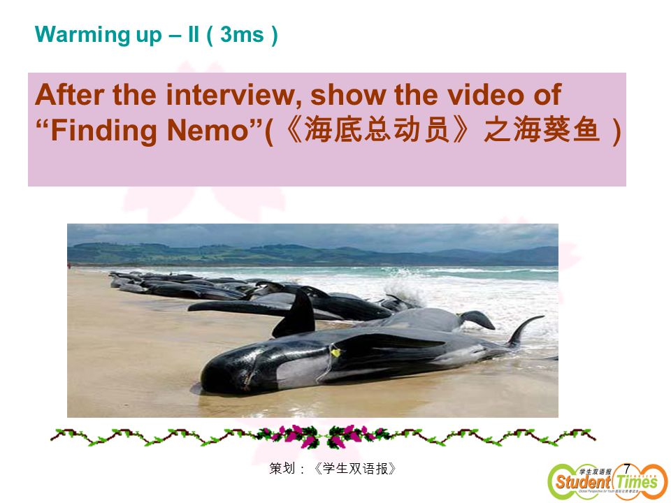After the interview, show the video of Finding Nemo (《海底总动员》之海葵鱼)