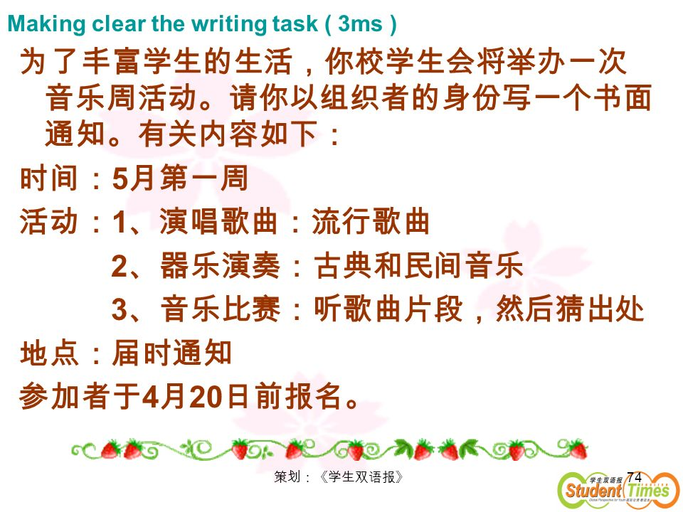Making clear the writing task ( 3ms )