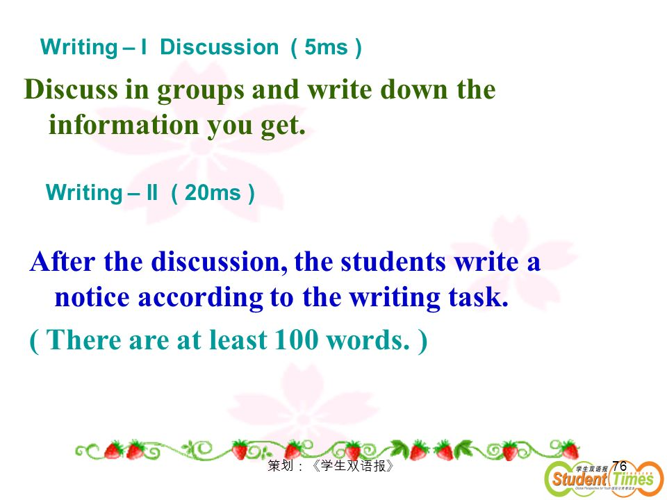 Writing – I Discussion ( 5ms )