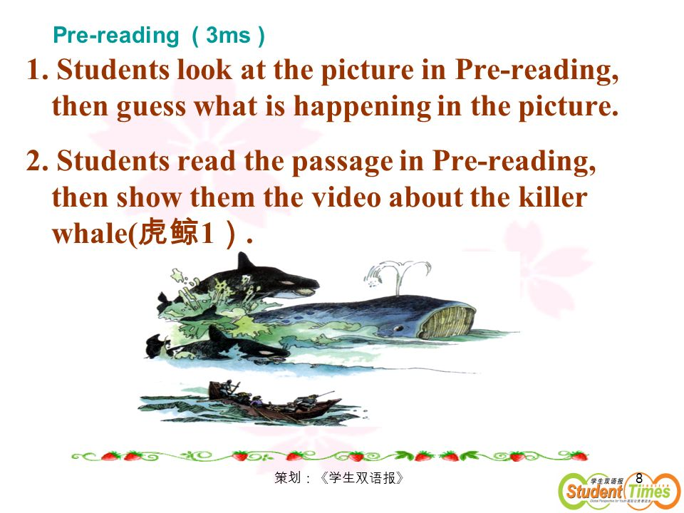 Pre-reading ( 3ms ) 1. Students look at the picture in Pre-reading, then guess what is happening in the picture.