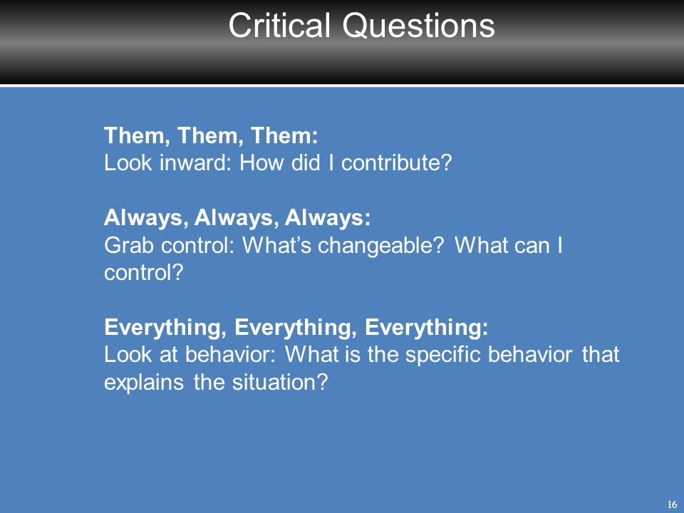 Critical Questions Them, Them, Them: