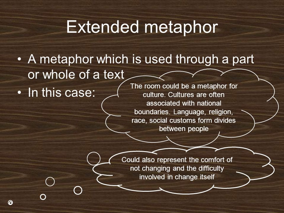 Extended metaphor A metaphor which is used through a part or whole of a text. In this case: