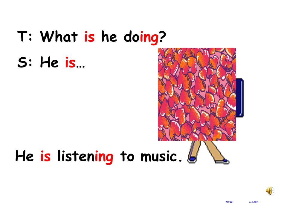 He is listening to music.