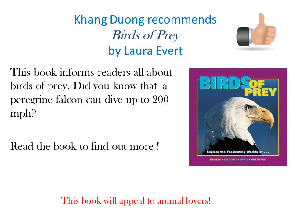 Khang Duong recommends Birds of Prey by Laura Evert