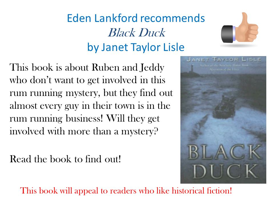 Eden Lankford recommends Black Duck by Janet Taylor Lisle