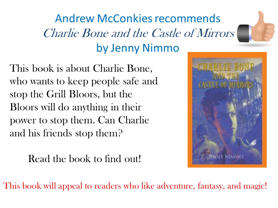 Andrew McConkies recommends Charlie Bone and the Castle of Mirrors