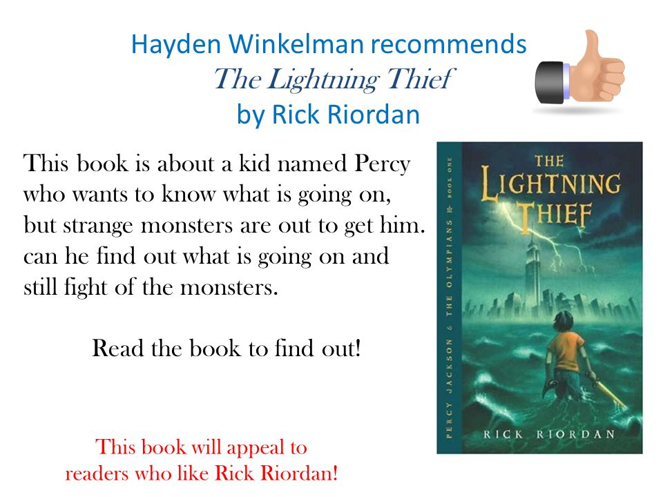 Hayden Winkelman recommends The Lightning Thief by Rick Riordan