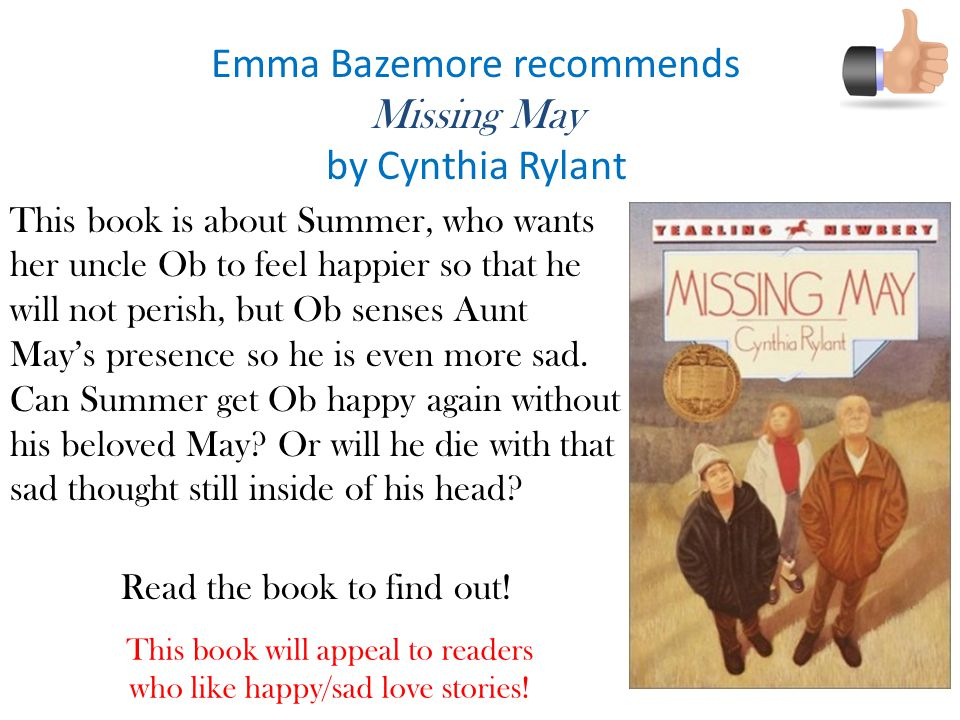 Emma Bazemore recommends Missing May by Cynthia Rylant