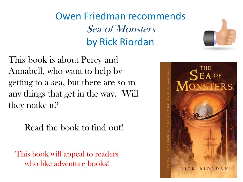 Owen Friedman recommends Sea of Monsters by Rick Riordan
