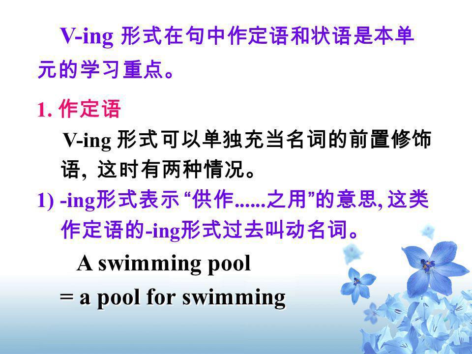 V-ing 形式在句中作定语和状语是本单元的学习重点。