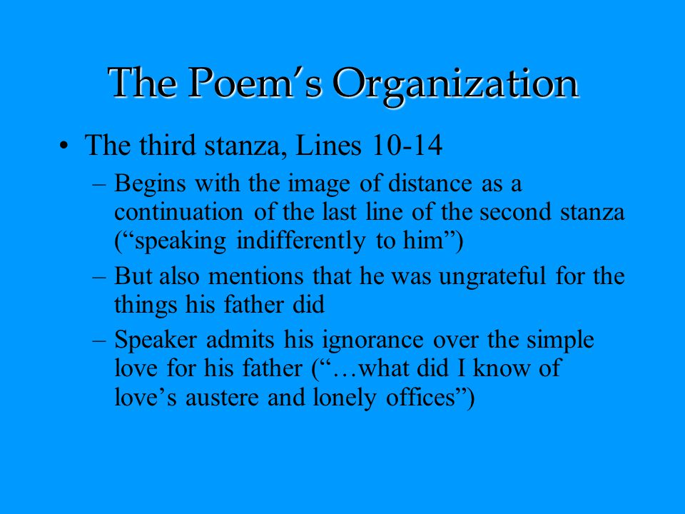 The Poem's Organization