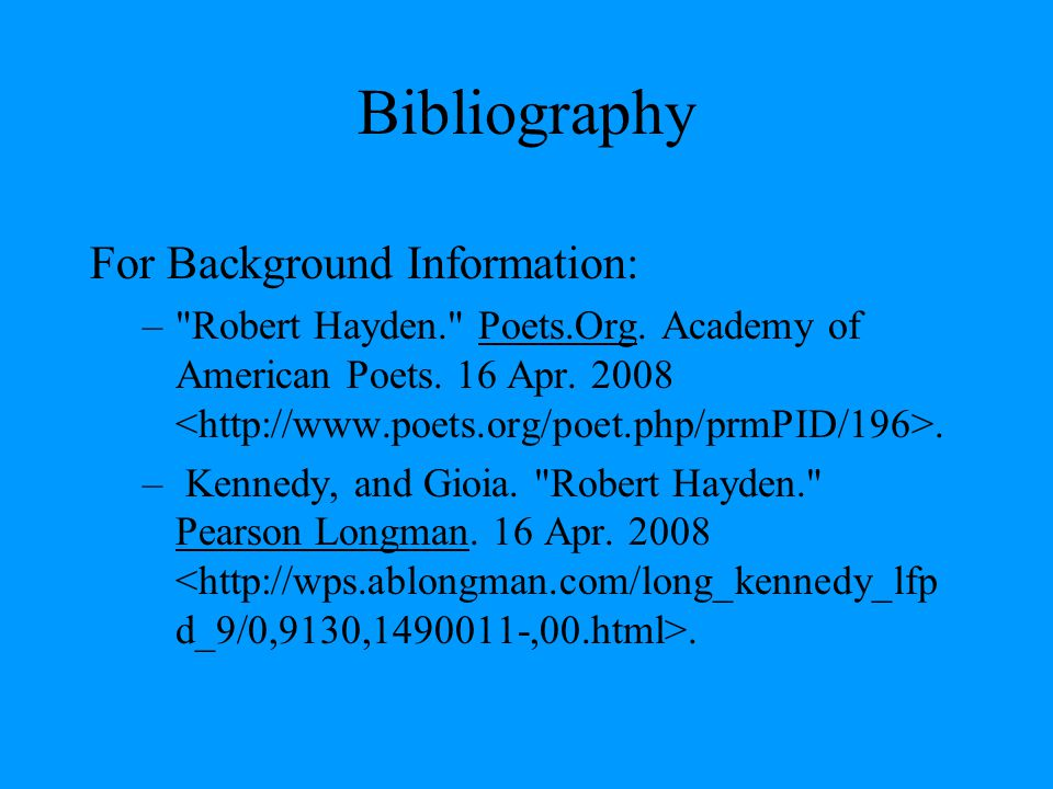 Bibliography For Background Information: