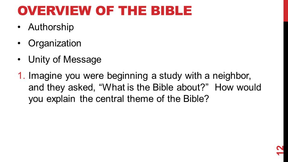 Overview of the Bible Authorship Organization Unity of Message