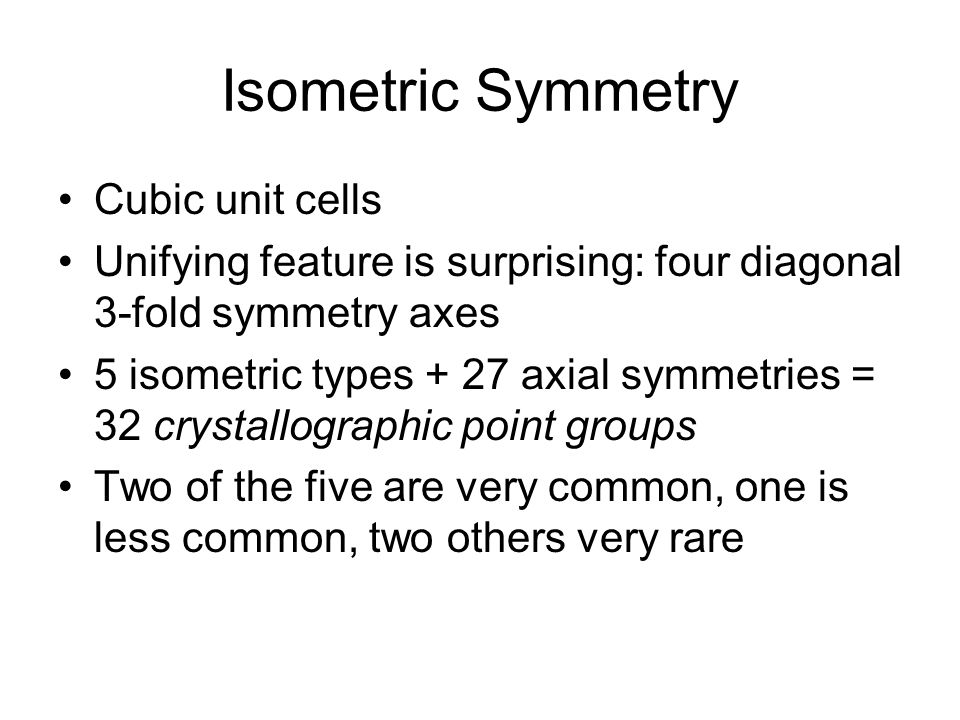 Isometric Symmetry Cubic unit cells