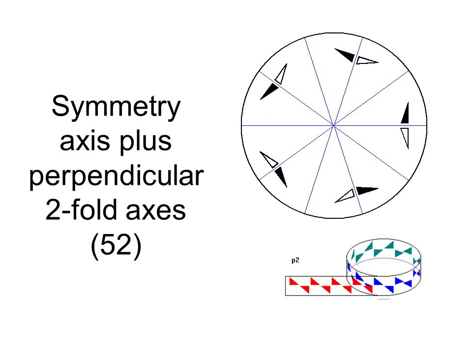 Symmetry axis plus perpendicular 2-fold axes (52)