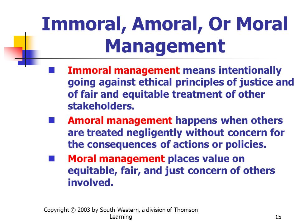 Immoral, Amoral, Or Moral Management
