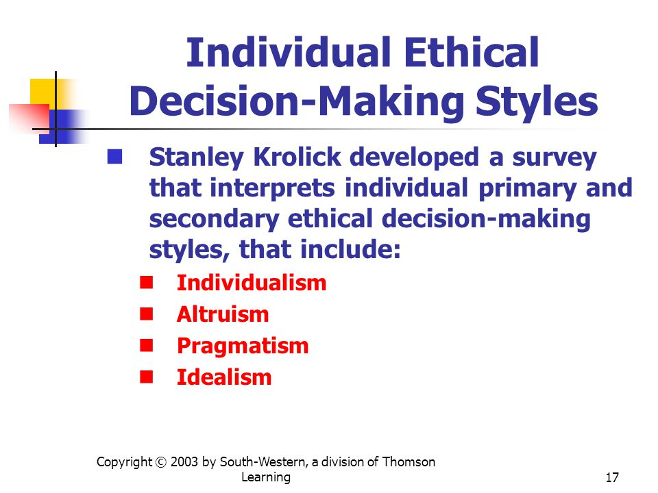 Individual Ethical Decision-Making Styles