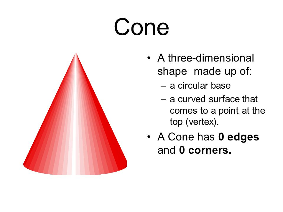 Cone A three-dimensional shape made up of: