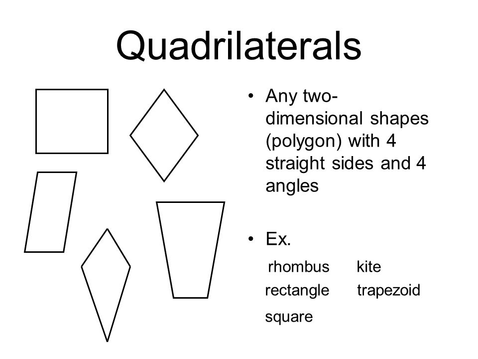 Quadrilaterals Any two-dimensional shapes (polygon) with 4 straight sides and 4 angles. Ex. rhombus kite.